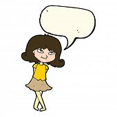 foto of clever  - cartoon clever girl with speech bubble - JPG
