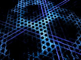 stock photo of nanotechnology  - Blue glowing microscopic grid nanotechnology new technology in future computer generated abstract background - JPG