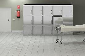 foto of autopsy  - 3d rendering of a macabre autopsy room - JPG