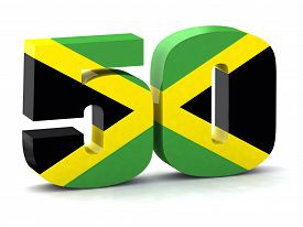 picture of jamaican flag  - Number 50 made with Jamaican flag the concept of the fiftieth anniversary of the independence of Jamaica - JPG