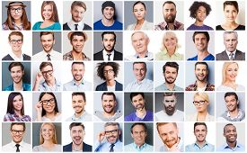 stock photo of diversity  - Collage of diverse multi - JPG