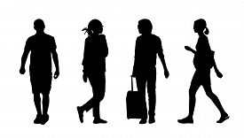 pic of ordinary woman  - silhouettes of ordinary young men and women walking outdoor summertime - JPG