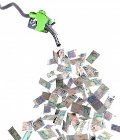 picture of fuel economy  - fuel nozzle with pound banknotes 3d illustration - JPG
