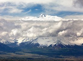 stock photo of lenin  - Panoramic view of Lenin Peak from Alay range  - JPG