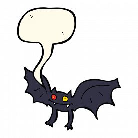 pic of vampire bat  - cartoon vampire bat with speech bubble - JPG