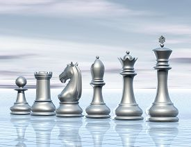 stock photo of surrealism  - light abstract surreal background with chess figurines concept illustration - JPG