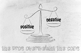 stock photo of pro-life  - pros winning over the cons metaphor of balance with positivity being stronger than negativity - JPG