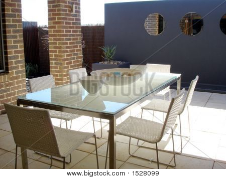 Outdoor Setting Blue Feature Wall