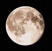stock photo of wane  - vector realistic full moon at stars sky - JPG
