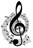 picture of treble clef  - vector music notes design - JPG