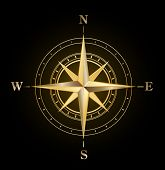image of compass rose  - vector golden compass symbol - JPG