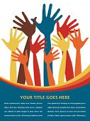 stock photo of hands up  - Happy hands with copy space vector - JPG