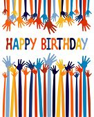 stock photo of happy birthday  - Excited hands birthday card design - JPG