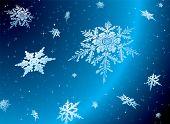 Постер, плакат: Снежинка падение против звездное ночи небо идеально Рождественские темы