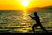 stock photo of yoga silhouette  - Silhouette of man practicing karate on a sunset beach - JPG