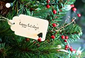 stock photo of happy holidays  - Happy holidays card in a Christmas tree - JPG