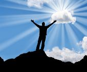 foto of sun rays  - Silhouette of a man with his arms stretched out to the sun - JPG