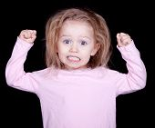 image of misbehaving  - A kid throwing her fists up in anger - JPG