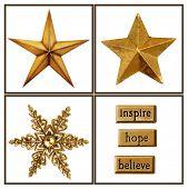 Постер, плакат: Коллекция золотых звезд и украшения для рождественских проектов
