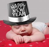 picture of new years baby  - Sleepy new year baby - JPG
