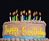 pic of birthday-cake  - Happy birthday cake with lots of candles - JPG