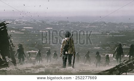 poster of Man With Weapons Facing A Crowd Of Zombies Against Post Apocalypse World, Digital Art Style, Illustr