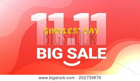 poster of Singles Day Sale Abstract Red Background With Yellow Text Singles' Day, 11.11 Date - Vector
