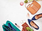 Fashion Accessories And Blue High Heels Shoes For Girls And Women. Urban Fashion Trends, Beauty Blog poster