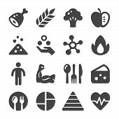 Nutrition And Food Icon Set Vector And Illustration poster