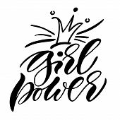 Girl Power. Isolated Vector, Calligraphic Phrase. Hand Calligraphy. Modern Design For Logo, Prints,  poster
