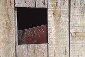 Old Wooden Door With Broken Glass. Piece Of Broken Glass poster