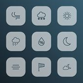 Climate Icons Line Style Set With Breeze, Snowfall, Rainstorm And Other Moon Elements. Isolated Vect poster