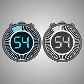 Постер, плакат: Electronic Digital Stopwatch Timer 54 Seconds Isolated On Gray Background Stopwatch Icon Set Time