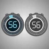 Постер, плакат: Electronic Digital Stopwatch Timer 56 Seconds Isolated On Gray Background Stopwatch Icon Set Time
