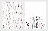 Hand Drawn Infantile Floral Vector Illustrations Set. Pink, Grey And Black Flowers On A White Backgr poster