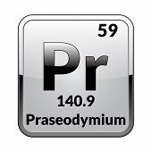 Praseodymium Symbol.chemical Element Of The Periodic Table On A Glossy White Background In A Silver  poster