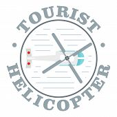 Tourist Helicopter Icon. Flat Illustration Of Tourist Helicopter Vector Icon For Web Design poster
