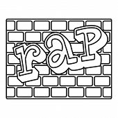 Rap Bricks Wall Icon, Outline Style Illustration Web poster