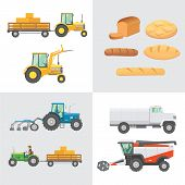 Set Harvest Vector. Agricultural Machinery, Farm Vehicle And Collection Bread Production. Tractors,  poster