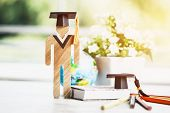 Back To School Concept, Student Sign Wood With Graduation Celebrating Cap With Textbook And Blur Glo poster
