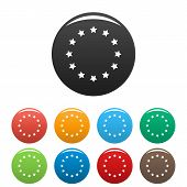 European Union Icons Set.  Simple Set Of European Union  Icons In Different Colors Isolated On White poster