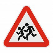 Children Crossing The Road Icon. Flat Illustration Of Children Crossing The Road  Icon For Web. poster