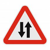 Double Sided Traffic Icon. Flat Illustration Of Double Sided Traffic  Icon For Web. poster