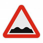 Rough Road Icon. Flat Illustration Of Rough Road  Icon For Web. poster