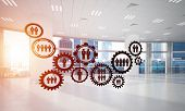 Cogwheels And Gears Mechanism As Social Communication Concept In Office Interior. 3d Rendering poster