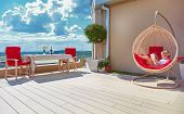 Young Boy Relaxing In Hammock On Modern Rooftop Patio, Home Terrace poster