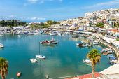 Mikrolimano Marina In Piraeus, Athens, Greece. Panoramic View Of The Beautiful Harbor With Sail Boat poster