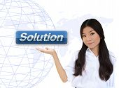 Business Woman With Solution Button