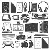 Electronic Device Icons. Computer, Mobile Phone And Camera, Laptop, Monitor And Tablet Pc, Headphone poster