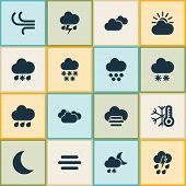 Climate Icons Set With Sleet, Winter, Light And Other Synoptic Elements. Isolated Vector Illustratio poster